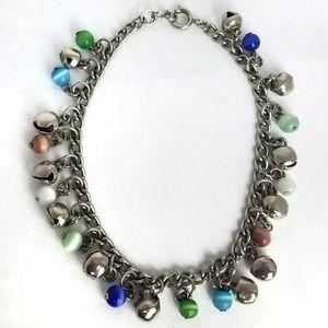 Jingle Bell Glass Bead Chain Ankle Bracelet
